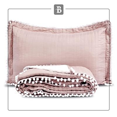 COVER QUILT POMPON QUEEN NUDE