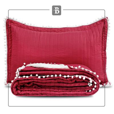 COVER QUILT POMPON KING BORDO